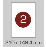 Етикетки самоклеючі (210 х 148,4 мм) - 2 шт. на  А4, 100 аркушів в  картонній упаковці