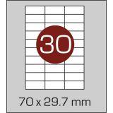 Етикетки самоклеючі (70 х 29,7 мм) - 30 шт. на А4, 100 аркушів в картонній упаковці