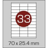 Етикетки самоклеючі (70 х 25,4 мм) - 33 шт. на  А4, 100 аркушів в в картонній упаковці