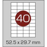 Етикетки самоклеючі (52,5 х 29,7 мм) - 40 шт. на А4, 100 аркушів в картонній упаковці