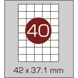 Етикетки самоклеючі (42 х 37,1 мм) - 40 шт. на А4, 100 аркушів в  картонній упаковці