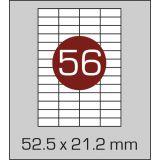 Етикетки самоклеючі (52,5 х 21,2 мм) - 56 шт. на  А4, 100 аркушів в картонній упаковці