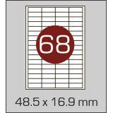 Етикетки самоклеючі  (48,5 х 16,9 мм) - 68 шт. на  А4, 100 аркушів в  картонній упаковці