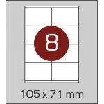 Етикетки самоклеючі (105 х 71 мм) - 8 шт. на  А4, 100 аркушів в  картонній упаковці