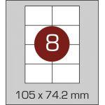 Етикетки самоклеючі (105 х 74,2 мм) - 8 шт. на  А4, 100 аркушів в  картонній упаковці