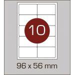 Етикетки самоклеючі (96 х 56 мм) із заокругленими кутами - 10 шт. на А4, 100 аркушів в картонній упаковці