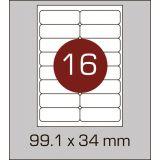 Етикетки самоклеючі (99,1 х 34 мм) із заокругленими углами - 16 шт. на А4, 100 аркушів в картонній упаковці