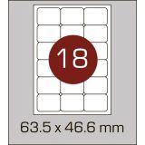 Етикетки самоклеючі (63,5 х 46,6 мм) із заокругленими кутами - 18 шт. на А4, 100 аркушів в картонній упаковці