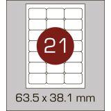 Етикетки самоклеючі (63,5 х 38,1 мм) із  заокругленими кутами - 21 шт. на  А4, 100 аркушів в  картонній упаковці