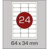 Етикетки самоклеючі (64 х 34 мм) із заокругленими кутами - 24 шт. на А4, 100 аркушів в картонній  упаковці
