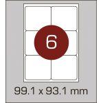 Етикетки самоклеючі (99,1 х 93,1 мм) із заокругленими кутами - 6 шт. на  А4, 100 аркушів в картонній упаковці