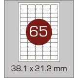 Етикетки самоклеючі (38,1 х 21,2 мм)  із заокругленими кутами- 65 шт. на А4, 100 аркушів в картонній упаковці